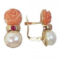 Pendientes oro 18k perla cultivada botón flor coral rubí [688]