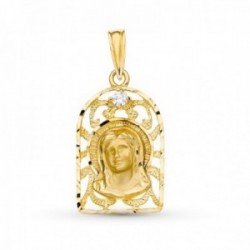 Medalla oro 18k Virgen Niña calada 21 mm. comunión