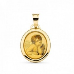 Medalla oro 18k angelito 19 mm. bordes relieve lisos