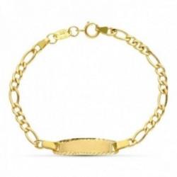 Esclava oro 18k bebé 13.5 cm. cadena eslabón 3x1 borde chapa tallado reasa