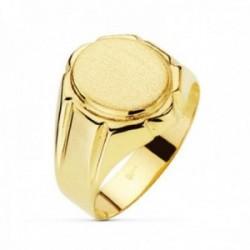 Sello oro 18k hombre anillo hueco detalles laterales largos