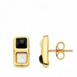 Pendientes oro 18k mujer combinados 13 mm. piedra orix y nácar presión