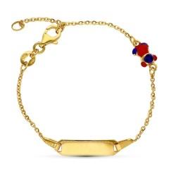 Esclava pulsera oro 18k niño 16 cm. forzada detalle osito esmaltado chapa lisa mosquetón