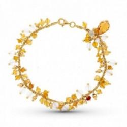 Pulsera oro 18k mujer piedras color mosquetón