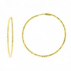 Pendientes oro 18k aros mujer 40 mm. diamantados cierre aro