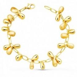 Pulsera oro 18k mujer 19.5 cm. eslabones ovalados colgantes brillo mate