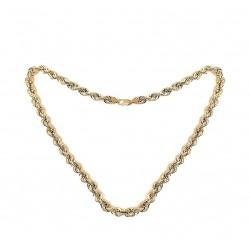Cordón cadena oro 18k salomónico 60cm. ligero 9 mm. mosquetón