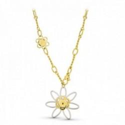 Gargantilla oro bicolor 18k mujer eslabones combinados formas caladas flor grande calada mosquetón