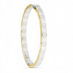Pulsera oro bicolor 18k mujer diámetro 62 mm. rígida detalles círculos combinados lisa lengueta
