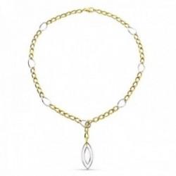 Gargantilla oro bicolor 18k mujer 27.5 cm. barbada combinada colgante ovalado calado