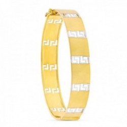 Pulsera oro bicolor 18k mujer 12 mm. greca combinada lisa lengueta