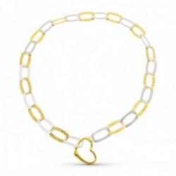 Gargantilla oro bicolor 18k mujer forzada detalles combinados lisos cierre forma corazón
