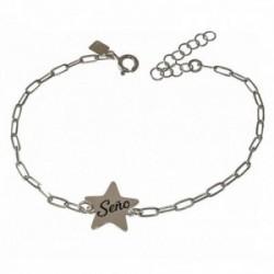Pulsera plata Ley 925m cadena SEÑO forzada 17 cm. profe estrella