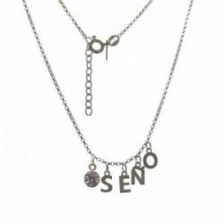Gargantilla plata Ley 925m cadena SEÑO rolo 44 cm. profe iniciales colgantes