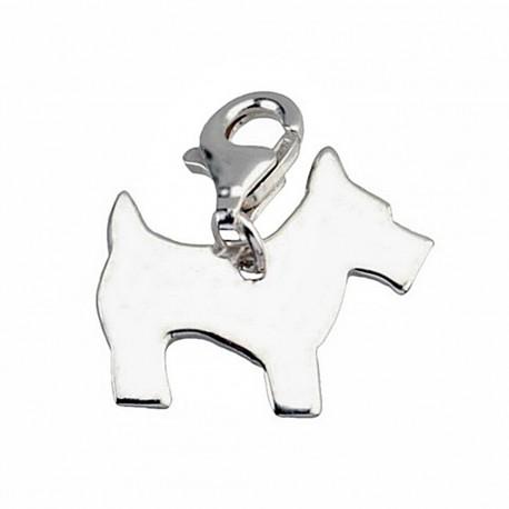 Colgante charm plata Ley 925m perro cierre mosquetón [5330]