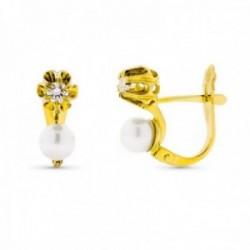 Pendientes oro 18k mujer perlas circonitas garras cierre catalán