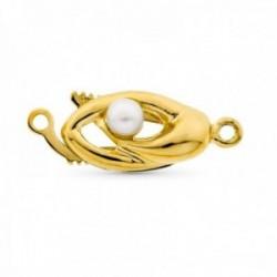 Fornitura oro 18k mujer broche collar para 1 vuelta perla centro combinada liso calado