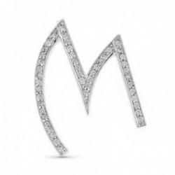 Colgante oro blanco 18k mujer 35 mm. letra M con circonitas