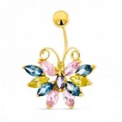 Piercing oro 18k mujer ombligo mariposa piedras colores