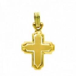 Cruz oro 18k calada 27 mm. detalles esquinas