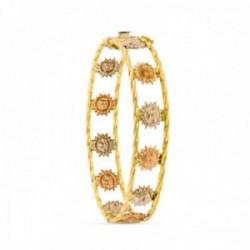 Pulsera oro tricolor 18k caña 13 mm. brazalete soles detalle