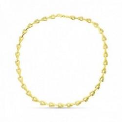 Gargantilla oro 18k mujer formas detalles tallados combinados circonitas