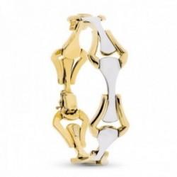 Pulsera oro bicolor 18k mujer eslabones forma rombo combinados lengueta