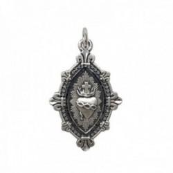Medalla plata Ley 925m. maciza Corazón de Jesús 22mm. DETENTE EL CORAZÓN DE JESÚS ESTÁ CONMIGO