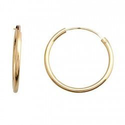 Pendientes oro 18k aro tubular circular ligero cierre palillo [5345]