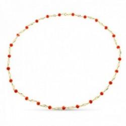 Collar oro 18k mujer 60 cm. jaula coral fino japonés 5.5 mm. reasa