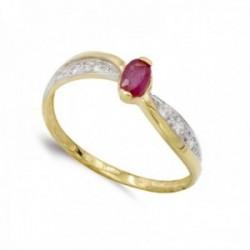 Sortija oro bicolor 18k mujer rubí centro 5 x 3 mm. combinada circonitas