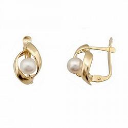 Pendientes oro 18k perla cultivada pasada 2 hojas cierre [6611P]