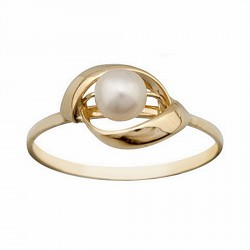 Sortija oro 18k perla cultivada pasada 2 hojas [6611S]