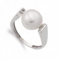 Sortija oro 18k mujer perla barroca centro combinada circonitas laterales superiores
