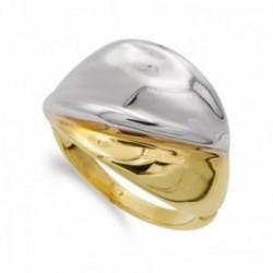 Sortija oro bicolor 18k mujer ondulada con bandas lisa