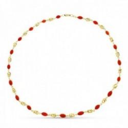 Collar oro 18k mujer 45 cm. jaula coral fino cerdeña mosquetón