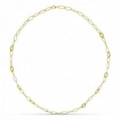 Collar oro 18k mujer 80 cm. forzada eslabones ovalados mosquetón