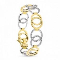 Pulsera oro bicolor 18k mujer eslabones círculos entrelazados circonitas combinados lisos
