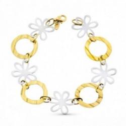 Pulsera oro bicolor 18k mujer 18.5 cm. flores combinadas círculos calados mosquetón