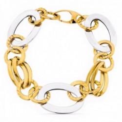 Pulsera oro bicolor 18k mujer eslabones ovalados combinados