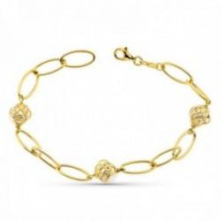 Pulsera oro 18k mujer forzada combinada perlas 8 mm. mosquetón
