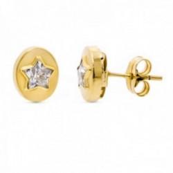 Pendientes oro 18k ovalados 9 mm. estrella centro