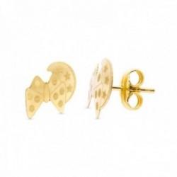 Pendientes oro 18k niña 9 mm. combinada luna detalles