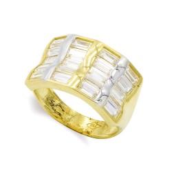 Sortija oro bicolor 18k mujer circonitas barras horizontales combinadas lisas