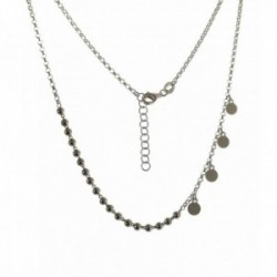 Gargantilla plata Ley 925m cadena rolo 42 cm. combinada bolas discos colgantes 5 mm. mosquetón