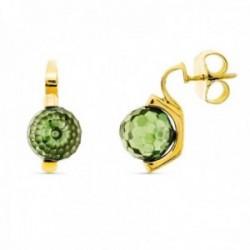 Pendientes oro 18k mujer 10 mm. piedra color verde presión