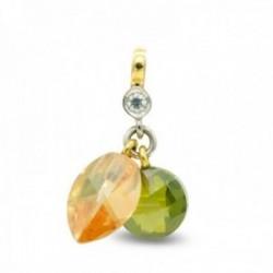 Colgante oro bicolor 18k mujer topacio combinada olivina