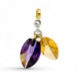 Colgante oro bicolor 18k mujer piedras color combinadas