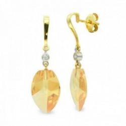 Pendientes oro bicolor 18k mujer largos topacio 18 mm. combinados circonita