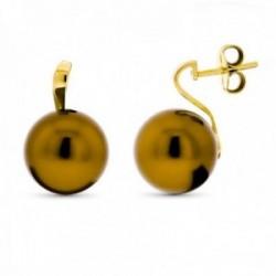 Pendientes oro 18k mujer perla 15 mm. marrón presión